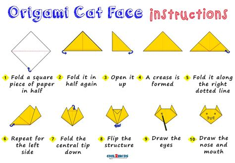 origami cat face coolbkids