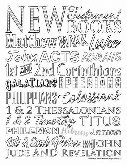 Testament Bible Books Coloring Verse Sheet Memory