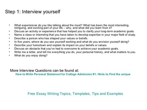 Personal Statements For Interviews by How To Write Personal Statement For College Application
