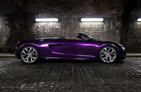 Audi R8 V10 Spyder Wrapped In Midnight Purple Color