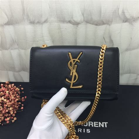 ysl small chain leather bag cm black gold  replica ysl