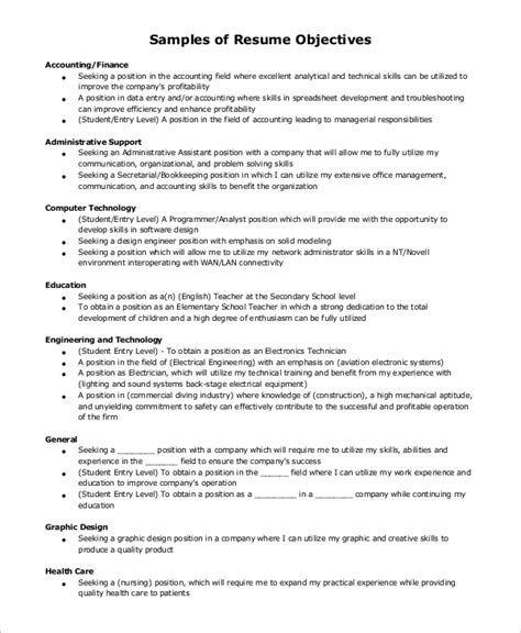Should A Resume An Objective by Exle Resume 9 Sles In Word Pdf