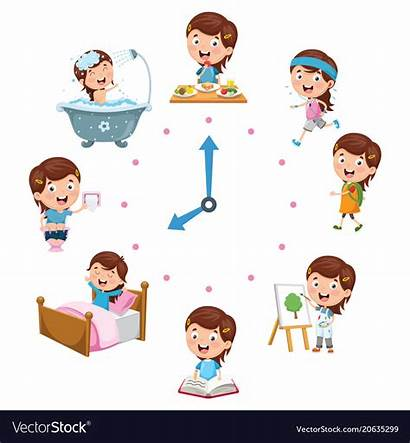Routine Daily Activities Clipart Vector Morning Children