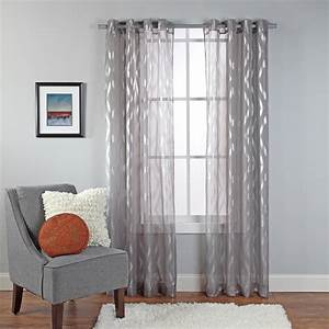 White with silver trim ring top sheer sari curtain drape for Balcony curtains walmart