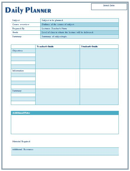 daily lesson plan templates  teachers
