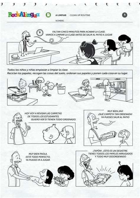 clean  routine worksheet rockalingua