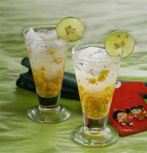 1 buah jagung 2 bawang putih 4 bawang merah 4 cabe merah 1 batang daun bawang dan. Resep dan Cara Membuat Es Jagung Manis Biji Selasih Kelapa Muda - QUDAPAN