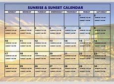 Sunrise And Sunset Calendar » Calendar Template 2018