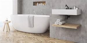Beton Ciré Sol Salle De Bain : comment adopter le b ton cir comme rev tement dans une salle de bains marie claire ~ Preciouscoupons.com Idées de Décoration