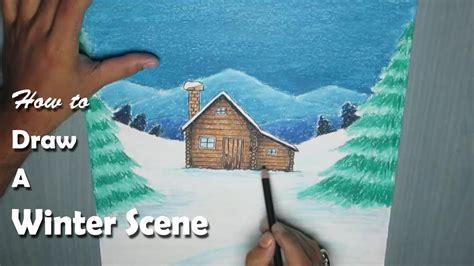 paint  winter night scene  oil pastel youtube