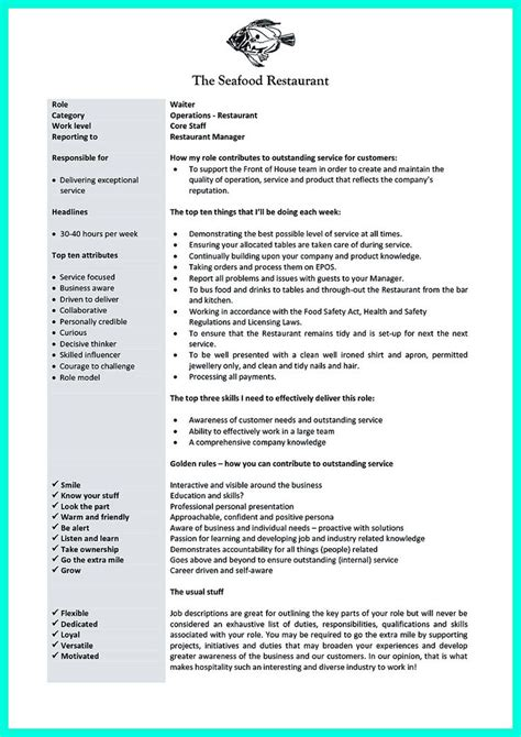 example of restaurant resume 173 best images about resume on pinterest restaurant