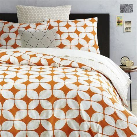 leaf motif orange  white duvet cover  shams