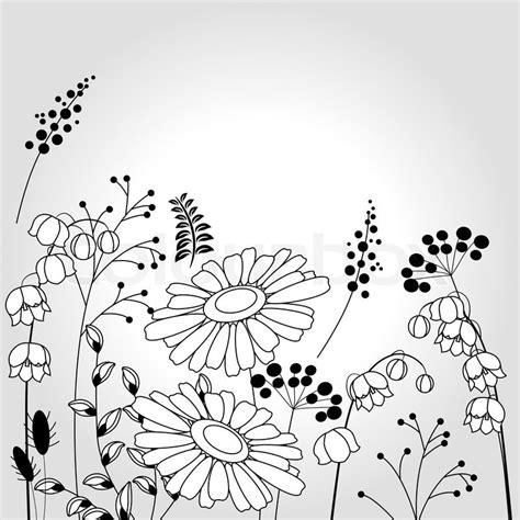hellen hintergrund mit kontur blumen und pflanzen