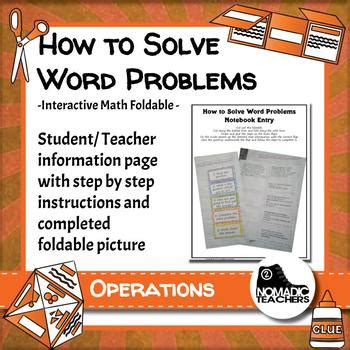solve word problems interactive notebook math