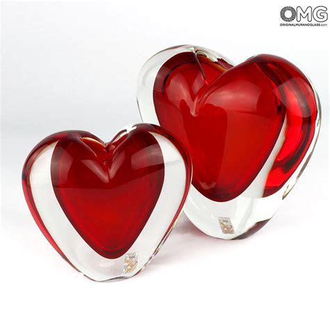 cuore e vasi vaso cuore rosso sommerso vetro di murano originale omg