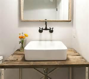 vessel sink bathroom ideas barn wood powder room vanity with vessel sink vintage bathroom