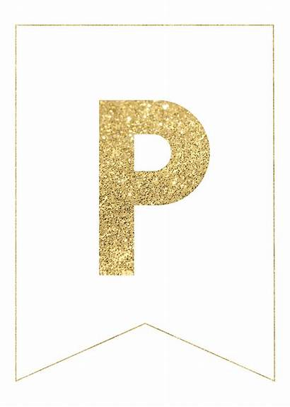 Banner Gold Letters Printable Birthday Happy Paper