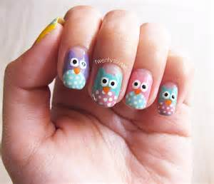 General sweet colors of cute owl nail art design idea with funny