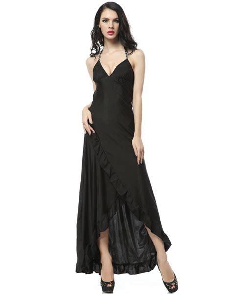 ruffle trim ruffle trim gown black