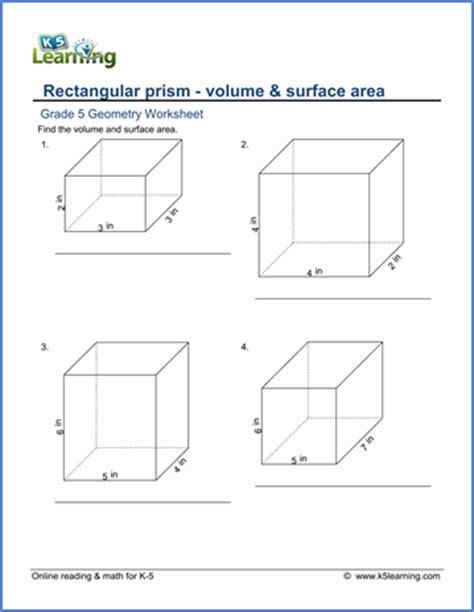 grade 5 math worksheet geometry volume surface area