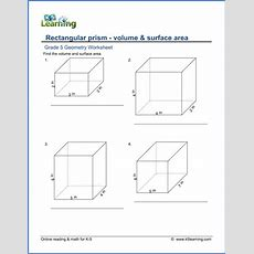 Grade 5 Math Worksheets Volume & Surface Area Of Rectangular Prisms  K5 Learning
