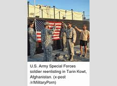 US Army Special Forces Soldier Reenlisting in Tarin Kowt