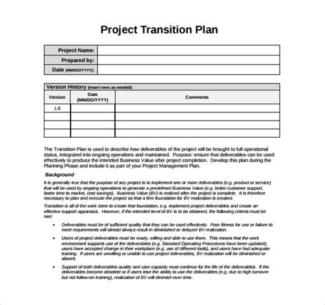 transition plan examples transition plan template 9 download documents in pdf