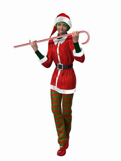 Woman Candy Elf Christmas Cane 3d Female