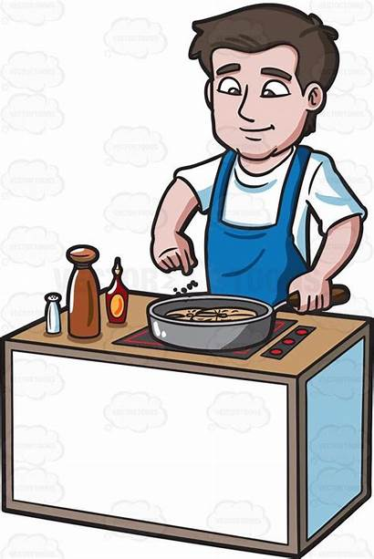 Cooking Clipart Cook He Sprinkles Male Cartoon