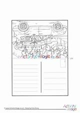 Road Trip Colouring Postcard Activity Village Explore sketch template