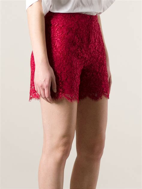 dolce gabbana floral lace shorts  red lyst