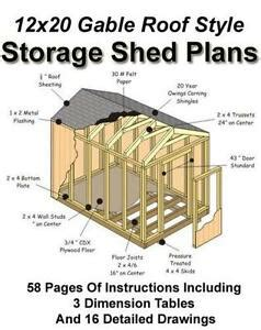 Free Shed Blueprints 12x20 by Shed Plans Ebay