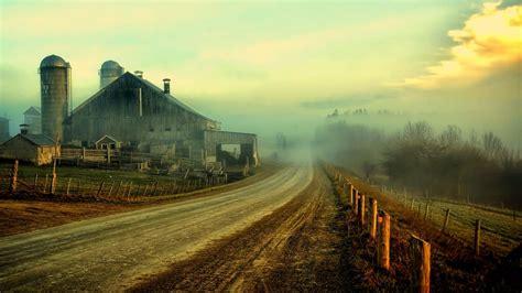 Nature Landscapes Farm Rustic Roads Fence Sky Clouds