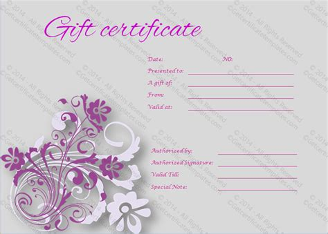 tranquil gift certificate template  certificate templates