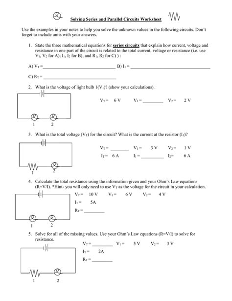 solving series and parallel circuits worksheet