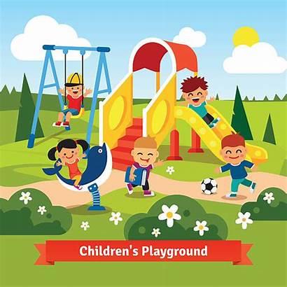 Playground Playing Children Swinging Vector Sliding Cartoon