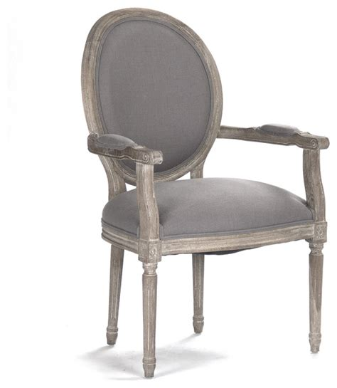 madeleine country oval gray linen dining arm chair