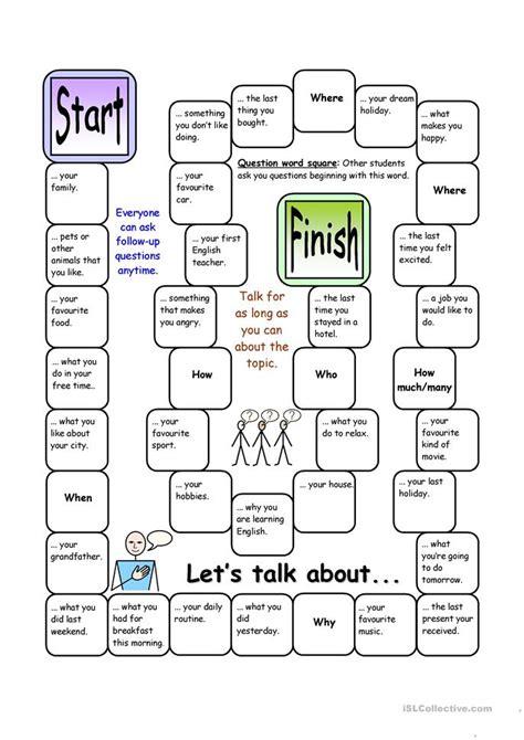 board game lets talk  elementary worksheet