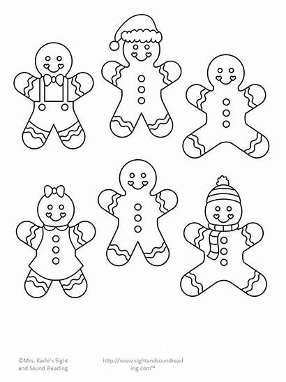 Gingerbread Christmas Paper Template Drawing Cutout Coloring
