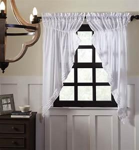 White, Ruffled, Sheer, Prairie, Curtains, 63, U0026quot