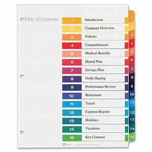 avery table of contents template svoboda2com With 12 tab divider template