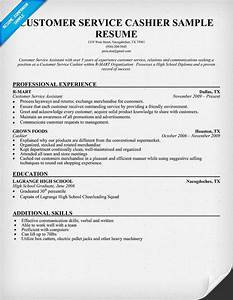 Customer Service Cashier Resume Sample Work