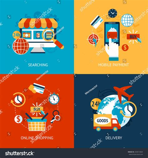 business concept flat icons set  stock vector