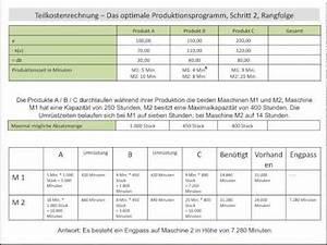 Optimales Produktionsprogramm Berechnen : optimales produktionsprogramm relativer deckungsbeitrag rangfolge schritt 2 fos bos youtube ~ Themetempest.com Abrechnung