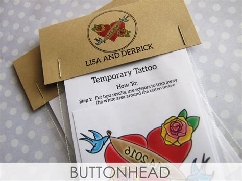 Temporary Tattoo Wedding Favors Buttonhead