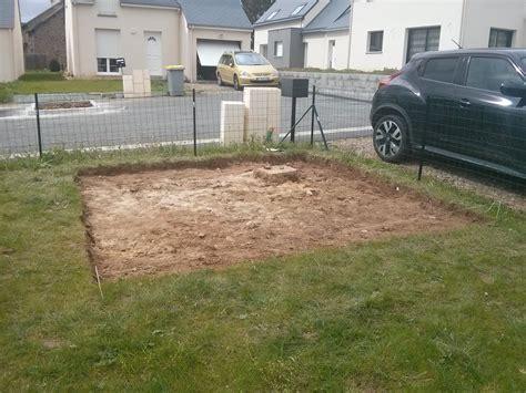construction de notre dalle pour abri de jardin notre