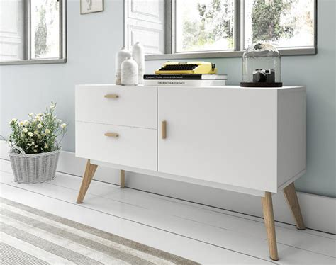 Modern White Sideboard With Oak Legs And Handles 1 Door