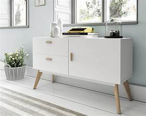 Modern White Sideboard with Oak Legs and Handles 1 Door ...