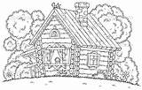 Coloring Cabin Pages Log Cabins Printable Template Popular Ages sketch template