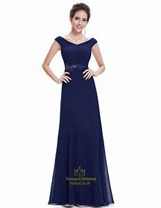 navy blue chiffon long bridesmaid dresses with beaded lace With navy blue long dress for wedding